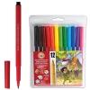 Фломастеры KOH-I-NOOR, 12 цветов, смываемые, трехгранные, пластиковая упаковка, европодвес, 771002AB04TERU