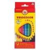 """Карандаши цветные KOH-I-NOOR """"Triocolor"""", 12 цветов, трехгранные, грифель 3,2 мм, европодвес, 3132012004KSRU"""