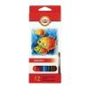 """Карандаши цветные акварельные KOH-I-NOOR """"Fish"""", 12 цветов, грифель 3 мм, заточенные, европодвес, 3716012004KS"""